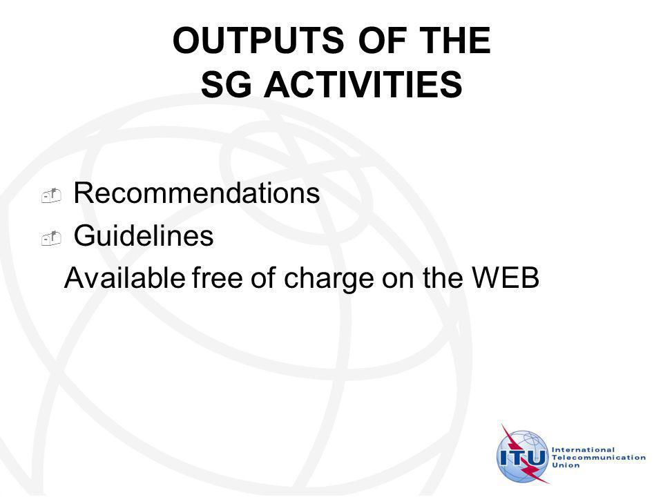 OUTPUTS OF THE SG ACTIVITIES Recommendations Guidelines Available free of charge on the WEB