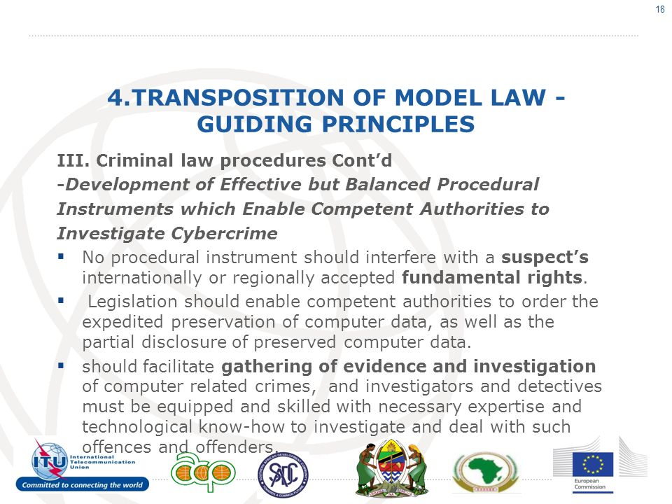 4.TRANSPOSITION OF MODEL LAW - GUIDING PRINCIPLES III.