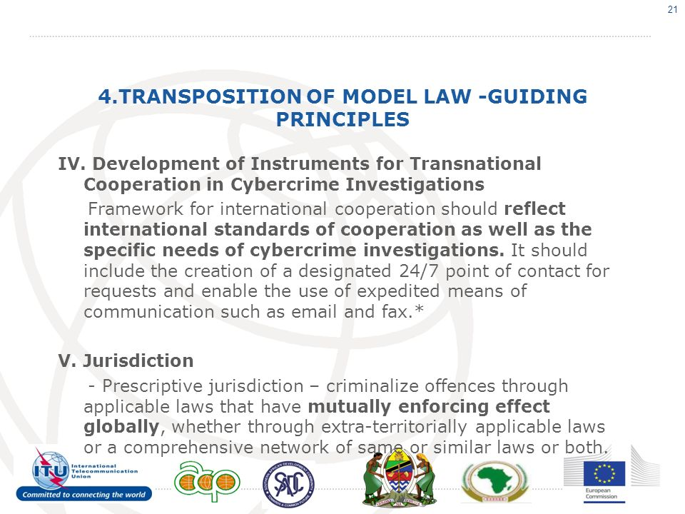 4.TRANSPOSITION OF MODEL LAW -GUIDING PRINCIPLES IV.