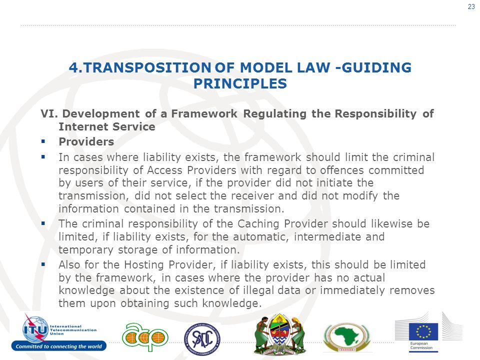 4.TRANSPOSITION OF MODEL LAW -GUIDING PRINCIPLES VI.