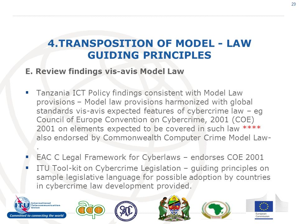 4.TRANSPOSITION OF MODEL - LAW GUIDING PRINCIPLES E.