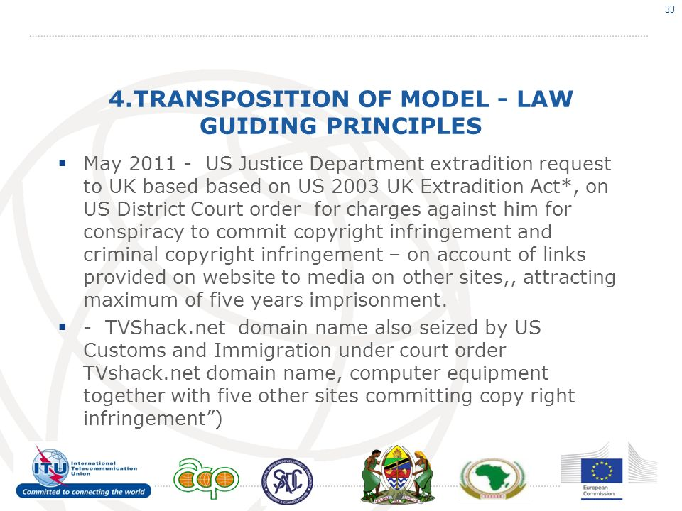 4.TRANSPOSITION OF MODEL - LAW GUIDING PRINCIPLES May 2011 - US Justice Department extradition request to UK based based on US 2003 UK Extradition Act*, on US District Court order for charges against him for conspiracy to commit copyright infringement and criminal copyright infringement – on account of links provided on website to media on other sites,, attracting maximum of five years imprisonment.