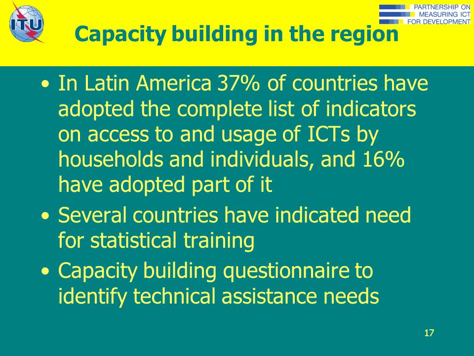 17 Capacity building in the region In Latin America 37% of countries have adopted the complete list of indicators on access to and usage of ICTs by households and individuals, and 16% have adopted part of it Several countries have indicated need for statistical training Capacity building questionnaire to identify technical assistance needs
