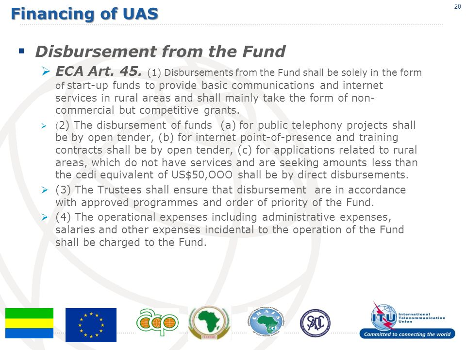 Financing of UAS Disbursement from the Fund ECA Art.