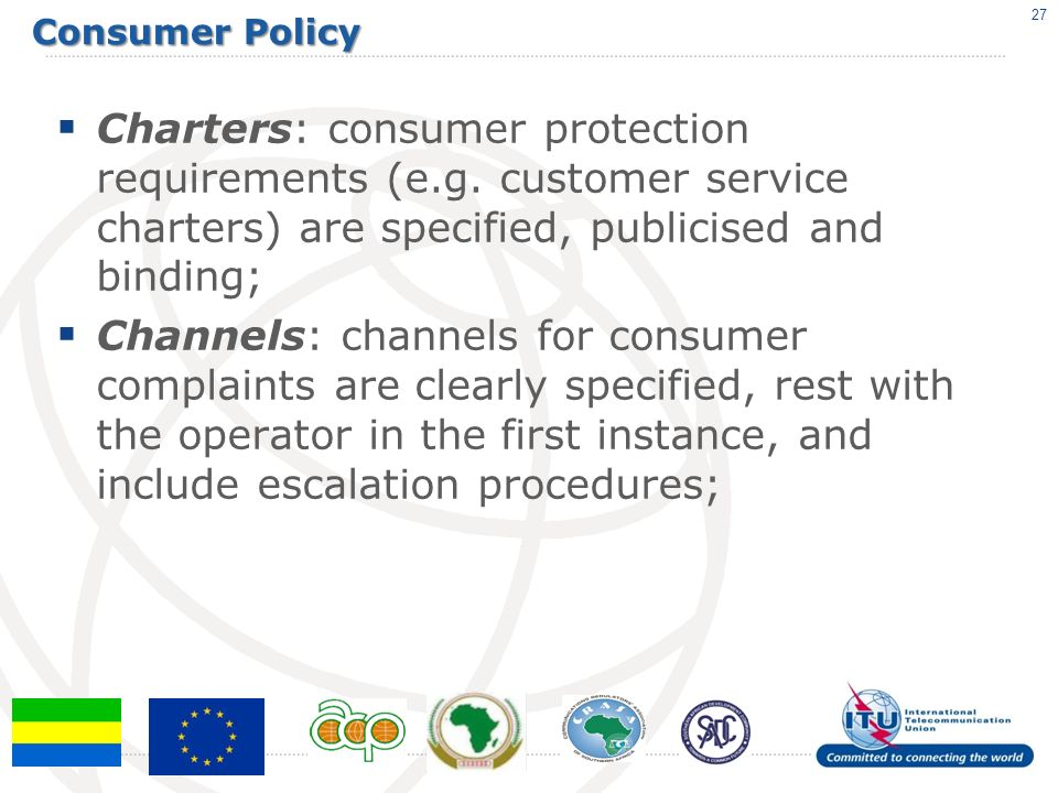 Consumer Policy Charters: consumer protection requirements (e.g.
