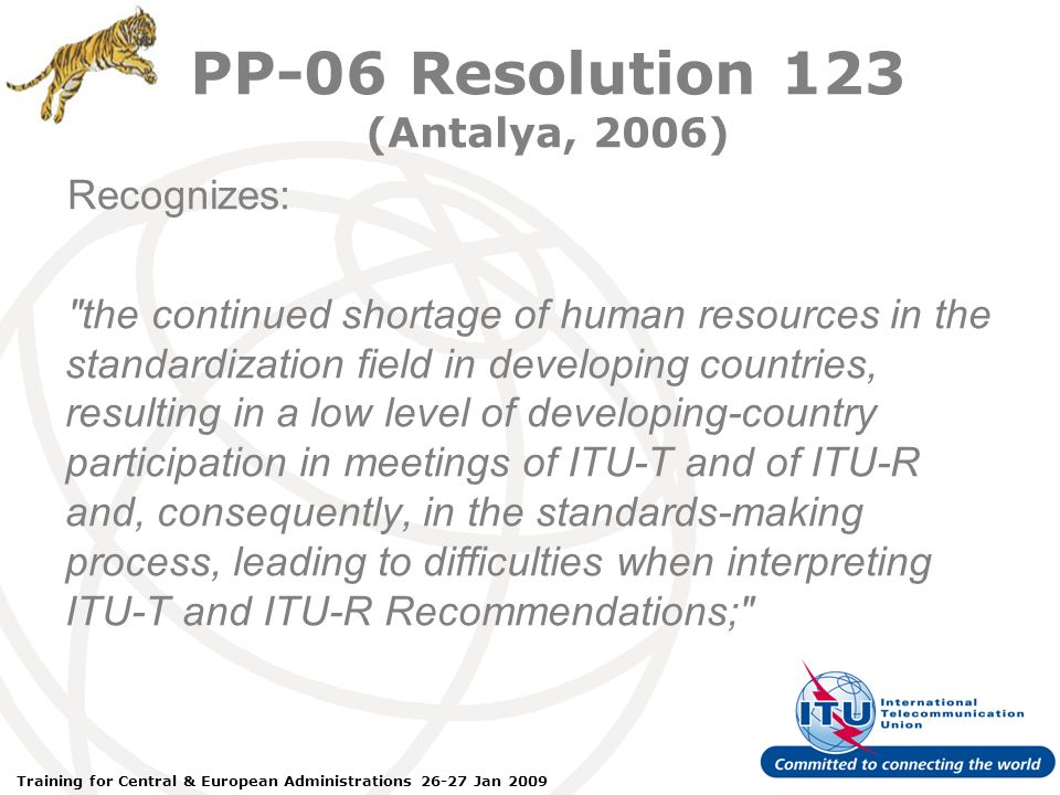 ITU Forum Bridging Standardization Gap – Brasilia, May 2008 Training for Central & European Administrations 26-27 Jan 2009 PP-06 Resolution 123 (Antalya, 2006) Recognizes: the continued shortage of human resources in the standardization field in developing countries, resulting in a low level of developing-country participation in meetings of ITU-T and of ITU-R and, consequently, in the standards-making process, leading to difficulties when interpreting ITU-T and ITU-R Recommendations;