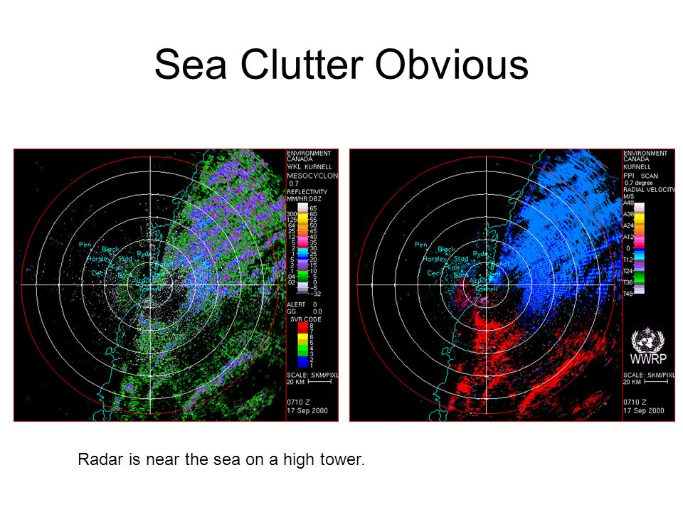 Sea Clutter Obvious Radar is near the sea on a high tower.