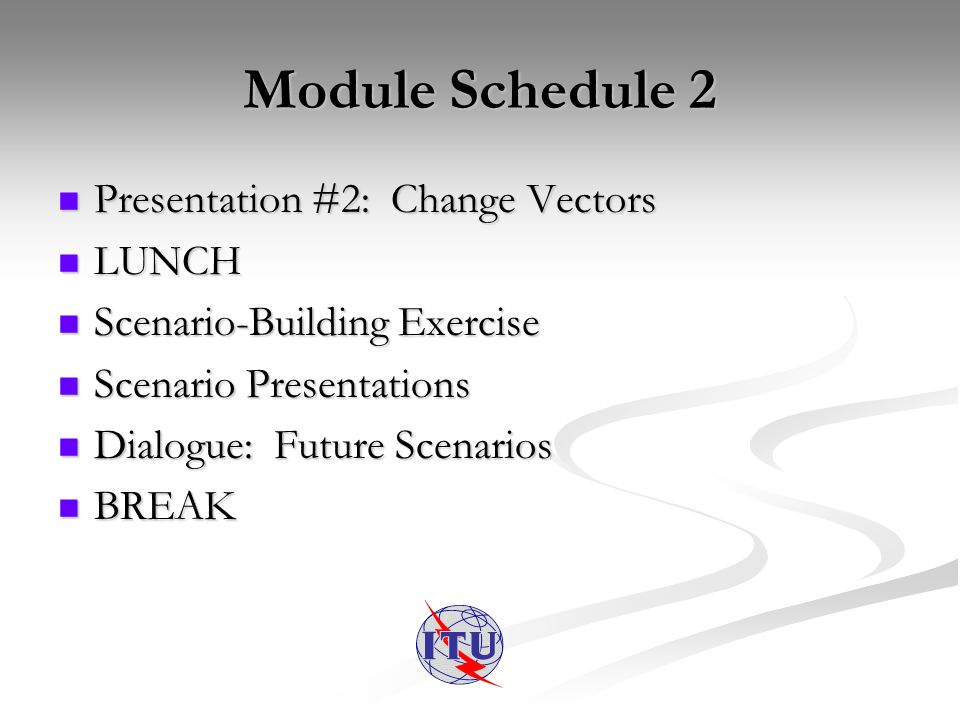 Module Schedule 2 Presentation #2: Change Vectors Presentation #2: Change Vectors LUNCH LUNCH Scenario-Building Exercise Scenario-Building Exercise Scenario Presentations Scenario Presentations Dialogue: Future Scenarios Dialogue: Future Scenarios BREAK BREAK