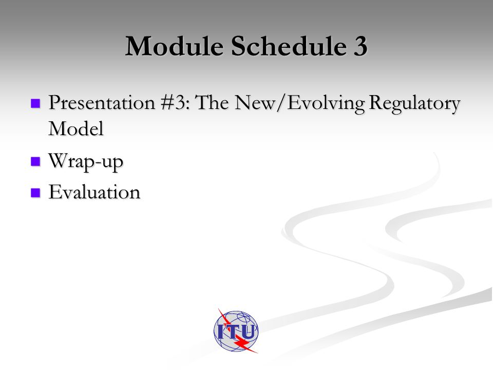 Module Schedule 3 Presentation #3: The New/Evolving Regulatory Model Presentation #3: The New/Evolving Regulatory Model Wrap-up Wrap-up Evaluation Evaluation