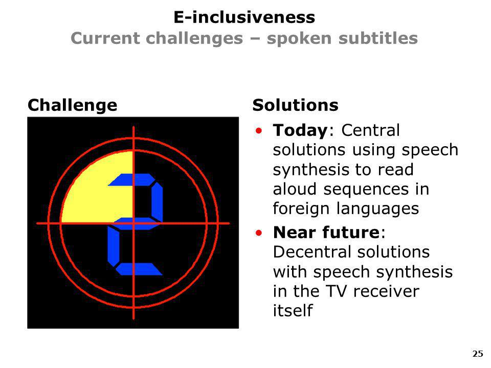 ChallengeSolutions Today: Central solutions using speech synthesis to read aloud sequences in foreign languages Near future: Decentral solutions with speech synthesis in the TV receiver itself 25 E-inclusiveness Current challenges – spoken subtitles