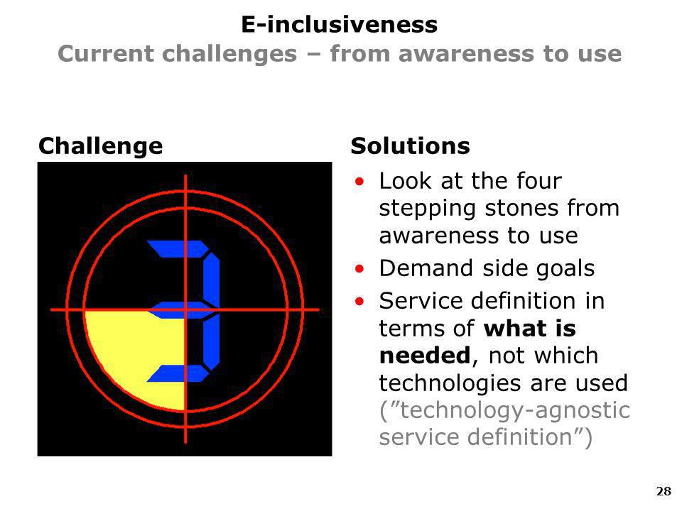 ChallengeSolutions Look at the four stepping stones from awareness to use Demand side goals Service definition in terms of what is needed, not which technologies are used (technology-agnostic service definition) 28 E-inclusiveness Current challenges – from awareness to use