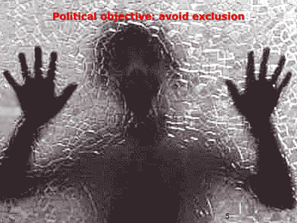 5 Political objective: avoid exclusion
