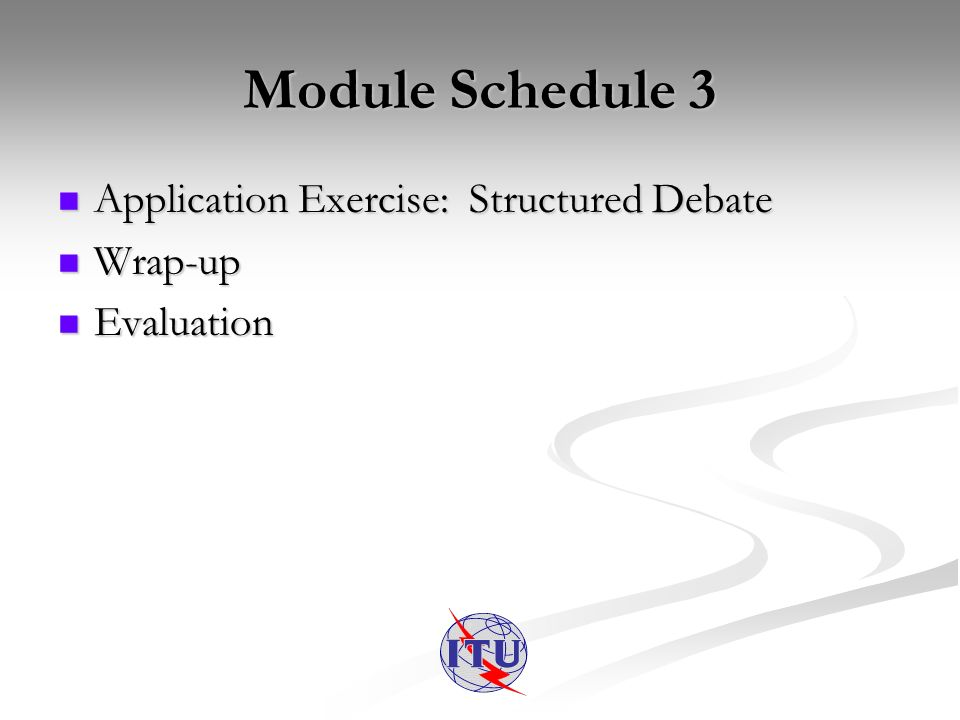 Module Schedule 3 Application Exercise: Structured Debate Application Exercise: Structured Debate Wrap-up Wrap-up Evaluation Evaluation