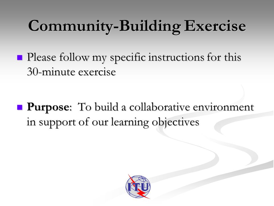 Community-Building Exercise Please follow my specific instructions for this 30-minute exercise Please follow my specific instructions for this 30-minute exercise Purpose: To build a collaborative environment in support of our learning objectives Purpose: To build a collaborative environment in support of our learning objectives