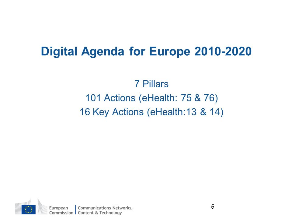 5 Digital Agenda for Europe Pillars 101 Actions (eHealth: 75 & 76) 16 Key Actions (eHealth:13 & 14)