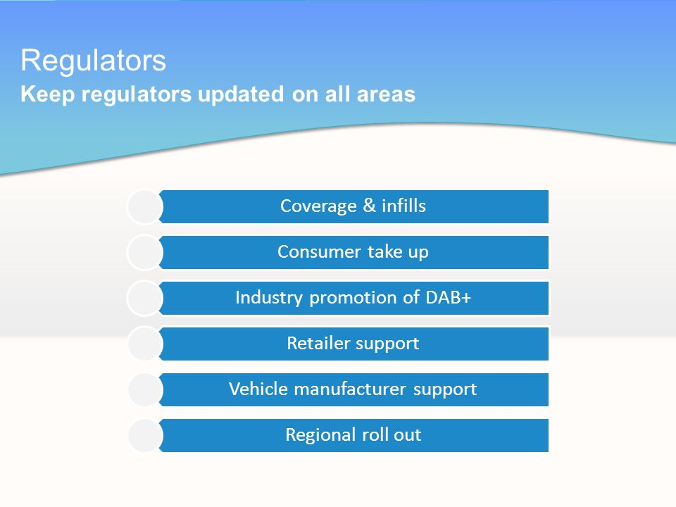 Coverage & infills Consumer take up Industry promotion of DAB+ Retailer support Vehicle manufacturer support Regional roll out Regulators Keep regulators updated on all areas