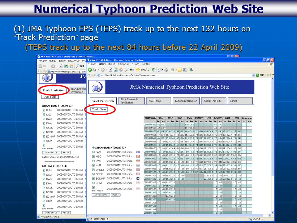 Numerical Typhoon Prediction Web Site (1) JMA Typhoon EPS (TEPS) track up to the next 132 hours on Track Prediction page (TEPS track up to the next 84 hours before 22 April 2009) (TEPS track up to the next 84 hours before 22 April 2009) Extension of TEPS track from the next 84 to 132hr
