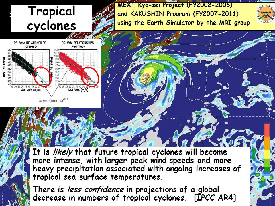 Tropical cyclones It is likely that future tropical cyclones will become more intense, with larger peak wind speeds and more heavy precipitation associated with ongoing increases of tropical sea surface temperatures.