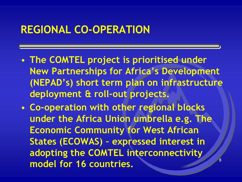7 GOVERNMENTS COMMITMENT Transport and Communications Ministers Meeting - June 1998 COMESA Council of Ministers Meeting - June 1998 COMESA AUTHORITY, HEADS OF STATES SUMMIT - June 1998
