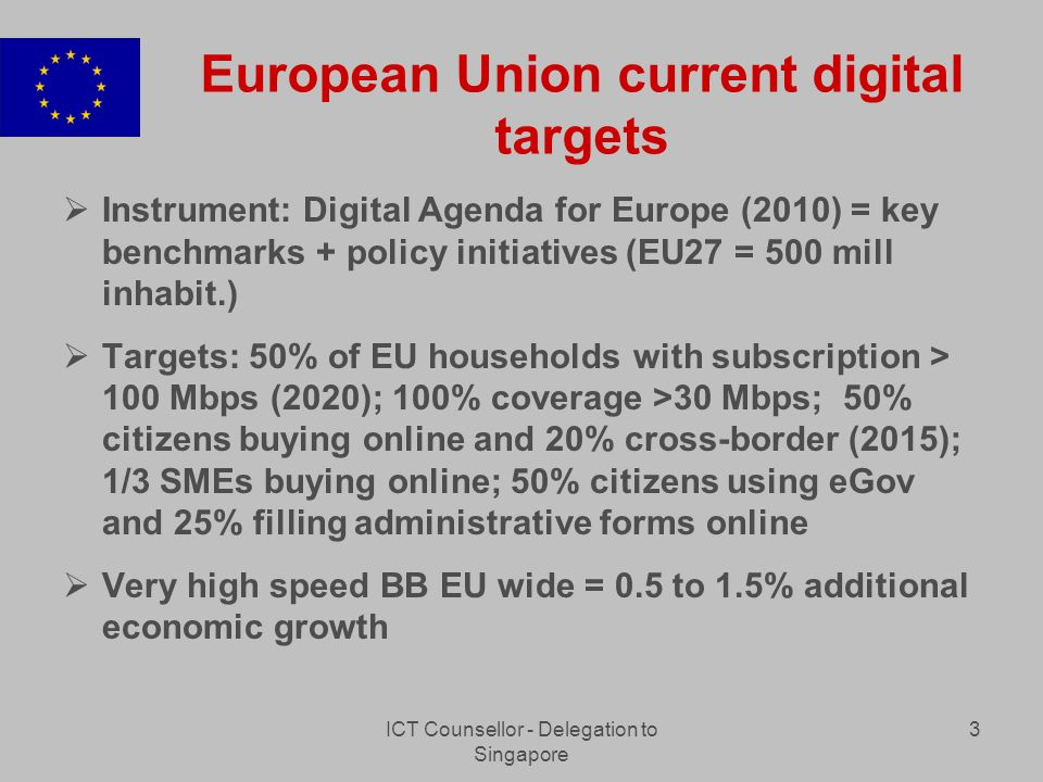 ICT Counsellor - Delegation to Singapore 3 European Union current digital targets Instrument: Digital Agenda for Europe (2010) = key benchmarks + policy initiatives (EU27 = 500 mill inhabit.) Targets: 50% of EU households with subscription > 100 Mbps (2020); 100% coverage >30 Mbps; 50% citizens buying online and 20% cross-border (2015); 1/3 SMEs buying online; 50% citizens using eGov and 25% filling administrative forms online Very high speed BB EU wide = 0.5 to 1.5% additional economic growth