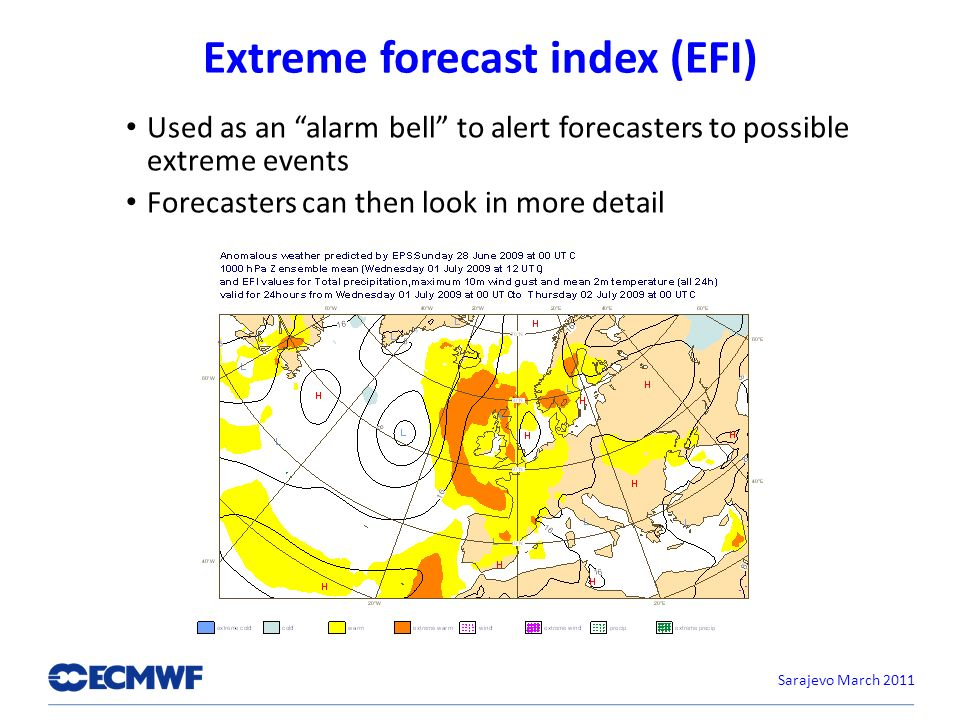 Extreme forecast index (EFI) Used as an alarm bell to alert forecasters to possible extreme events Forecasters can then look in more detail Sarajevo March 2011