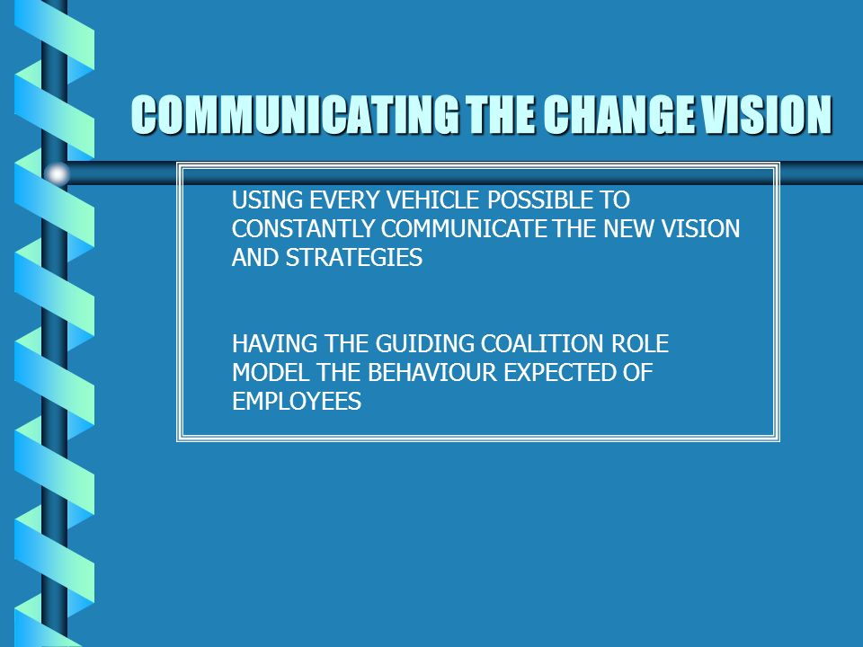 DEVELOPING A VISION AND STRATEGY CREATING A VISION TO DIRECT THE CHANGE EFFORT DEVELOPING STRATEGIES FOR ACHIEVING THAT VISION