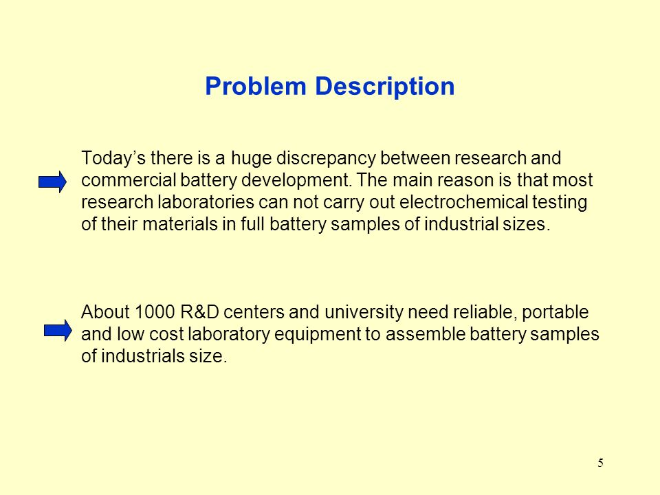 5 Problem Description Todays there is a huge discrepancy between research and commercial battery development.