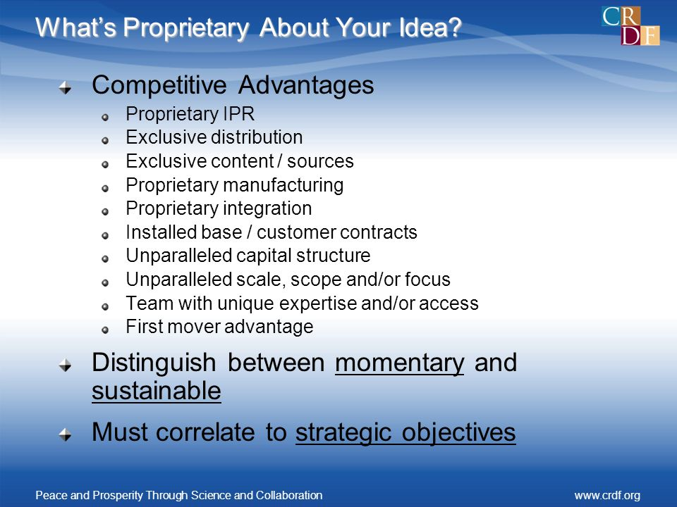 Whats Proprietary About Your Idea.