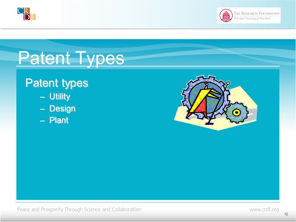 Peace and Prosperity Through Science and Collaboration www.crdf.org Patent Types Patent types –Utility –Design –Plant 12