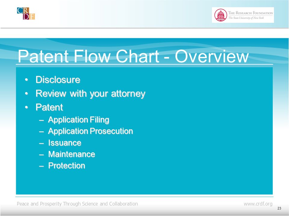 Peace and Prosperity Through Science and Collaboration www.crdf.org Patent Flow Chart - Overview DisclosureDisclosure Review with your attorneyReview with your attorney PatentPatent –Application Filing –Application Prosecution –Issuance –Maintenance –Protection 23
