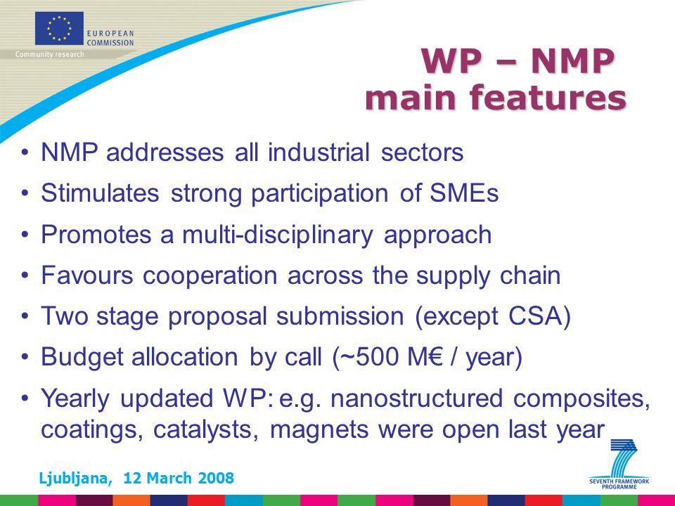 Ljubljana, 12 March 2008 WP – NMP main features NMP addresses all industrial sectors Stimulates strong participation of SMEs Promotes a multi-disciplinary approach Favours cooperation across the supply chain Two stage proposal submission (except CSA) Budget allocation by call (~500 M / year) Yearly updated WP: e.g.