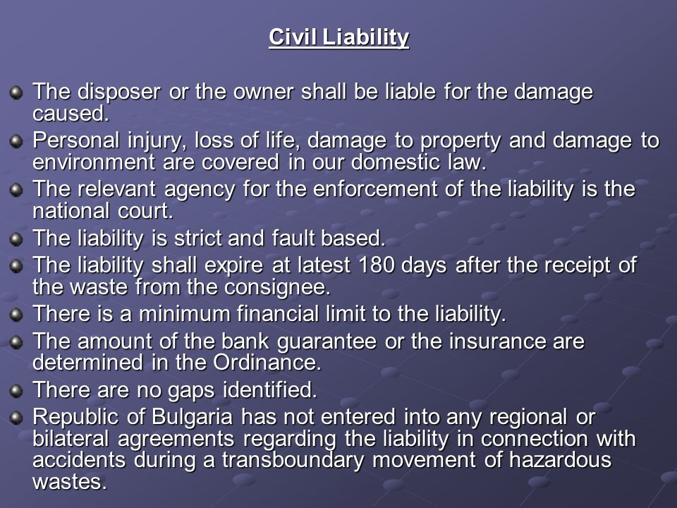 Civil Liability The disposer or the owner shall be liable for the damage caused.
