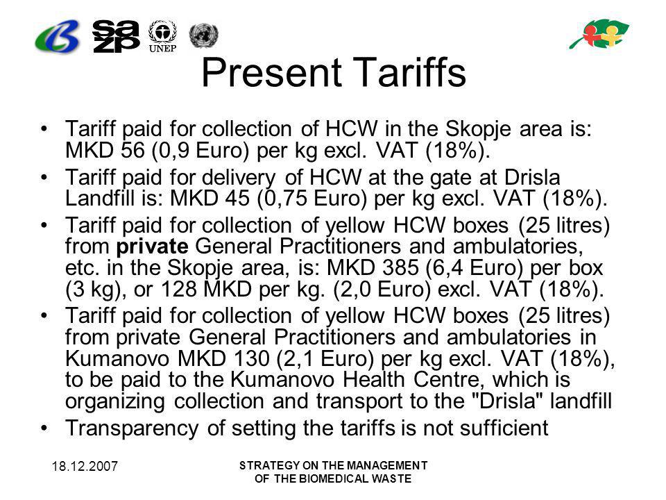 18.12.2007 STRATEGY ON THE MANAGEMENT OF THE BIOMEDICAL WASTE Present Tariffs Tariff paid for collection of HCW in the Skopje area is: MKD 56 (0,9 Euro) per kg excl.