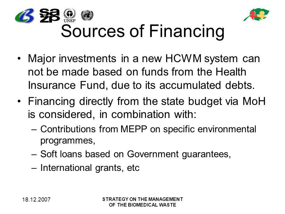 18.12.2007 STRATEGY ON THE MANAGEMENT OF THE BIOMEDICAL WASTE Sources of Financing Major investments in a new HCWM system can not be made based on funds from the Health Insurance Fund, due to its accumulated debts.