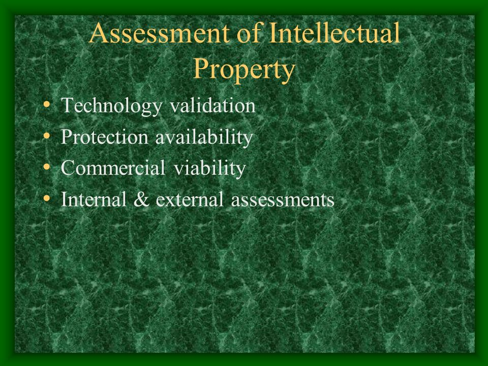 Assessment of Intellectual Property Technology validation Protection availability Commercial viability Internal & external assessments