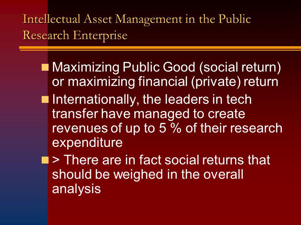Intellectual Asset Management in the Public Research Enterprise Maximizing Public Good (social return) or maximizing financial (private) return Internationally, the leaders in tech transfer have managed to create revenues of up to 5 % of their research expenditure > There are in fact social returns that should be weighed in the overall analysis