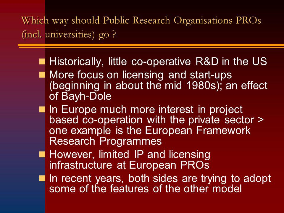 Which way should Public Research Organisations PROs (incl.