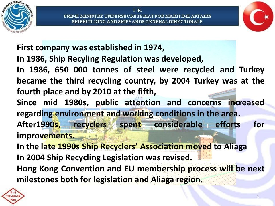 First company was established in 1974, In 1986, Ship Recyling Regulation was developed, In 1986, tonnes of steel were recycled and Turkey became the third recycling country, by 2004 Turkey was at the fourth place and by 2010 at the fifth, Since mid 1980s, public attention and concerns increased regarding environment and working conditions in the area.