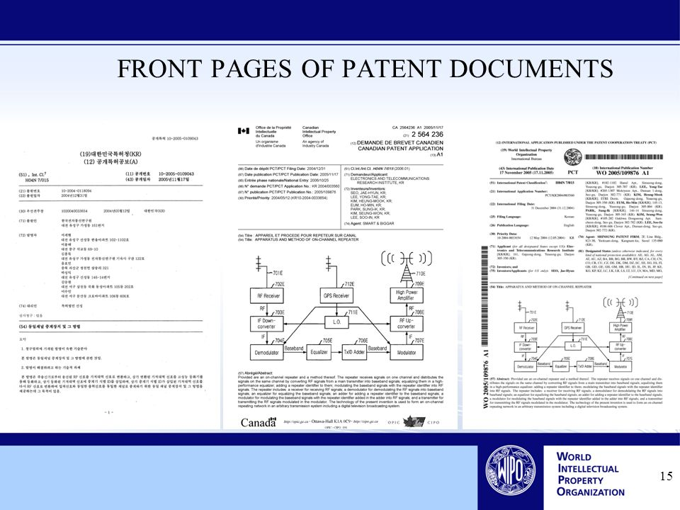 15 FRONT PAGES OF PATENT DOCUMENTS