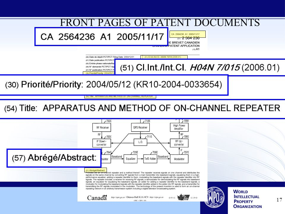 17 FRONT PAGES OF PATENT DOCUMENTS