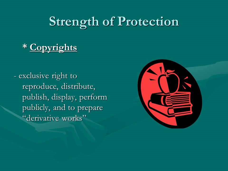Strength of Protection * Copyrights - exclusive right to reproduce, distribute, publish, display, perform publicly, and to prepare derivative works