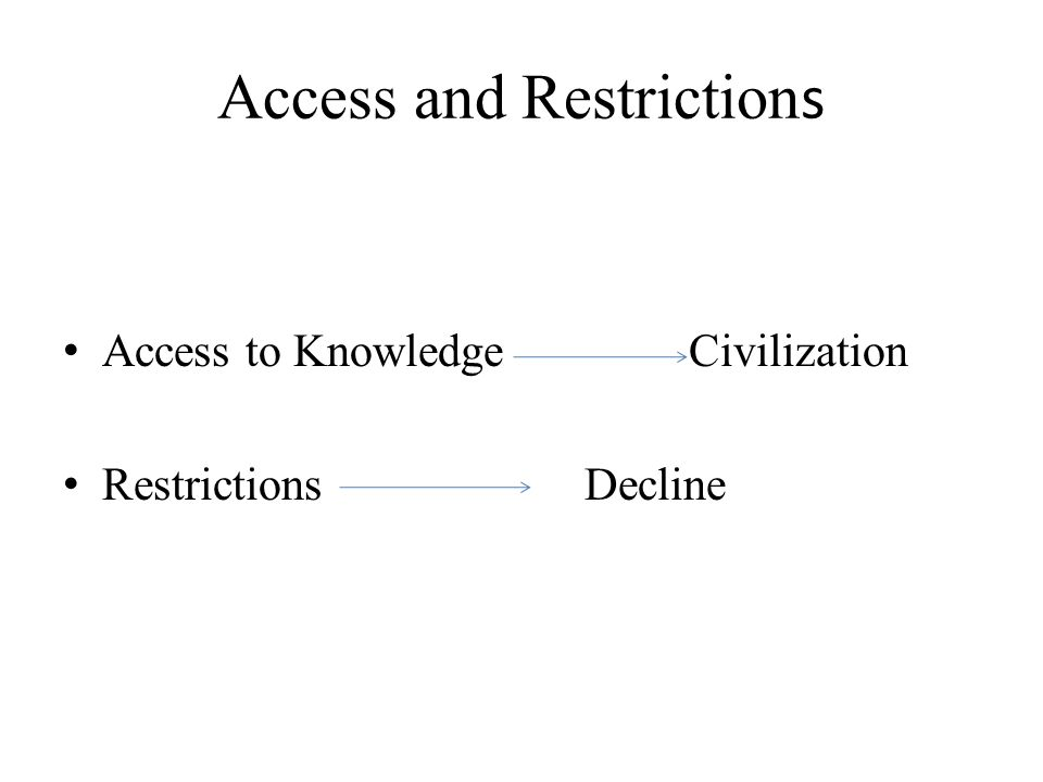 Access and Restriction s Access to KnowledgeCivilization Restrictions Decline