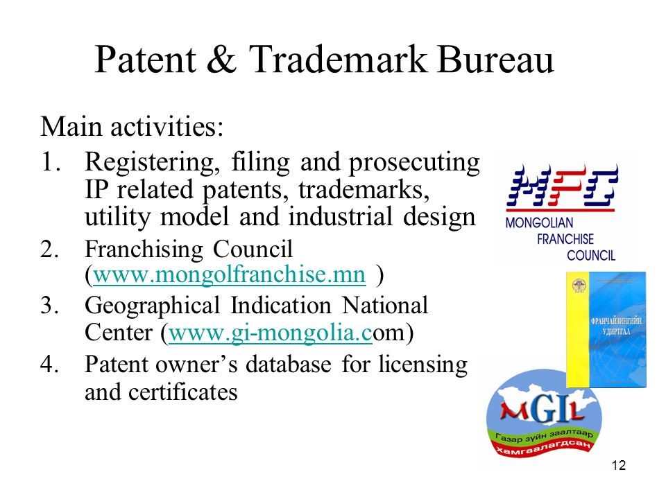 12 Main activities: 1.Registering, filing and prosecuting IP related patents, trademarks, utility model and industrial design 2.Franchising Council (www.mongolfranchise.mn )www.mongolfranchise.mn 3.Geographical Indication National Center (www.gi-mongolia.com)www.gi-mongolia.c 4.Patent owners database for licensing and certificates Patent & Trademark Bureau