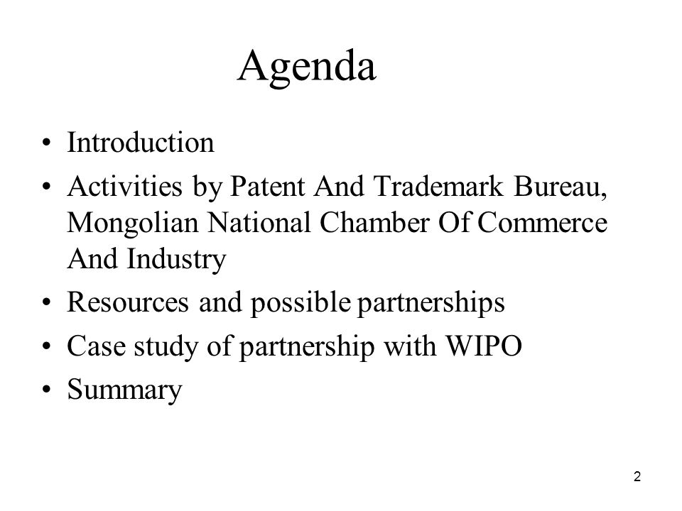2 Agenda Introduction Activities by Patent And Trademark Bureau, Mongolian National Chamber Of Commerce And Industry Resources and possible partnerships Case study of partnership with WIPO Summary