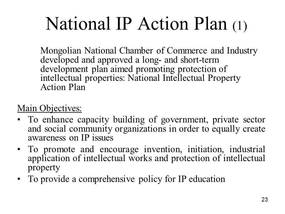 23 National IP Action Plan (1) Mongolian National Chamber of Commerce and Industry developed and approved a long- and short-term development plan aimed promoting protection of intellectual properties: National Intellectual Property Action Plan Main Objectives: To enhance capacity building of government, private sector and social community organizations in order to equally create awareness on IP issues To promote and encourage invention, initiation, industrial application of intellectual works and protection of intellectual property To provide a comprehensive policy for IP education