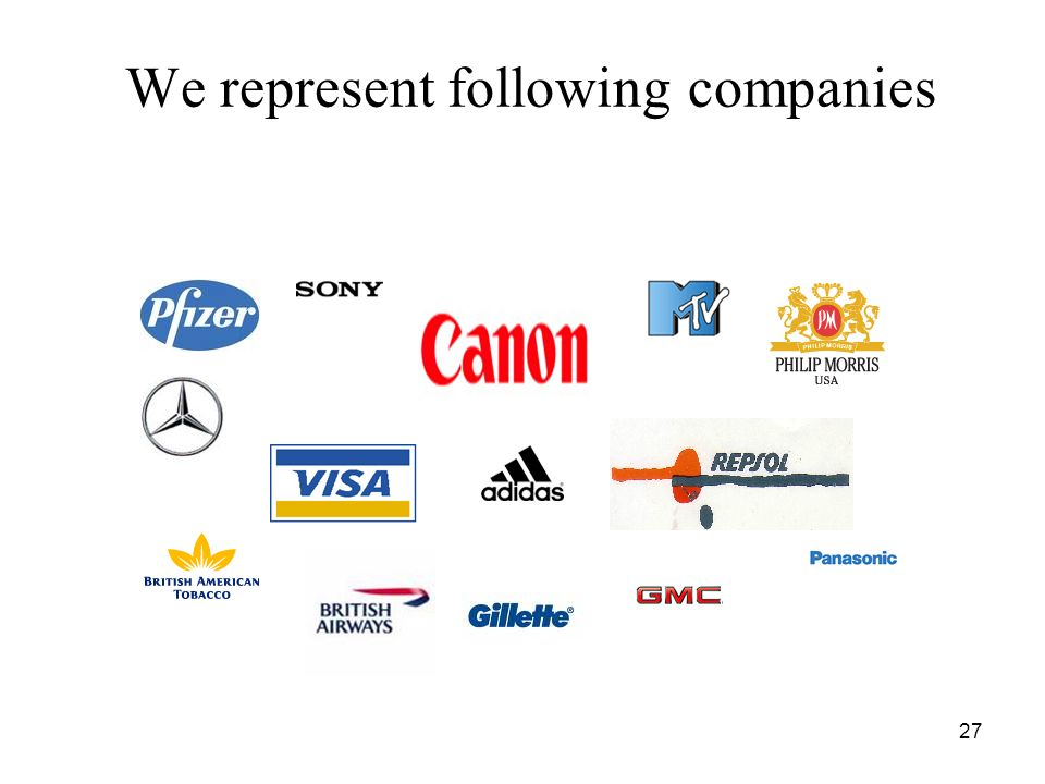 27 We represent following companies