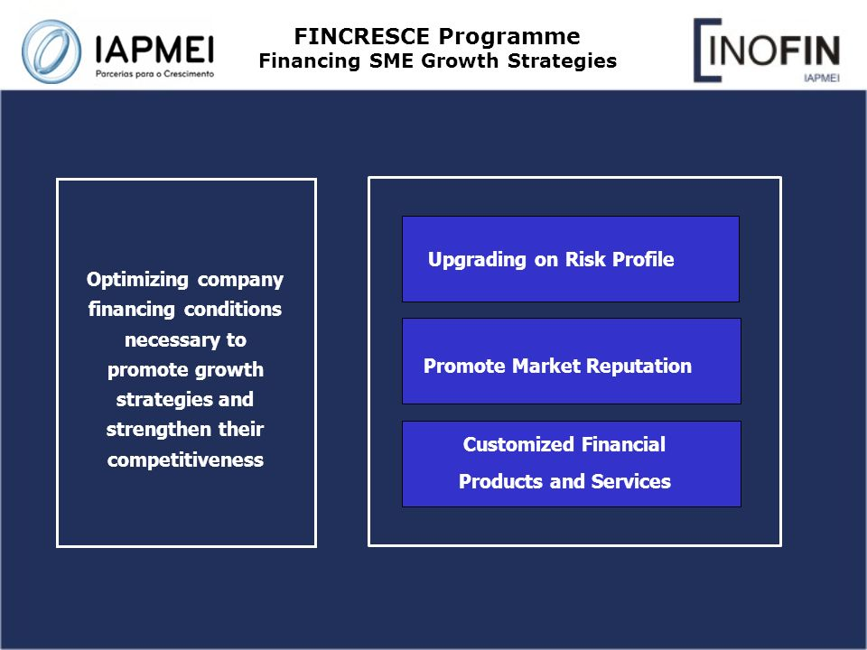 FINCRESCE Programme Financing SME Growth Strategies Optimizing company financing conditions necessary to promote growth strategies and strengthen their competitiveness Upgrading on Risk Profile Promote Market Reputation Customized Financial Products and Services