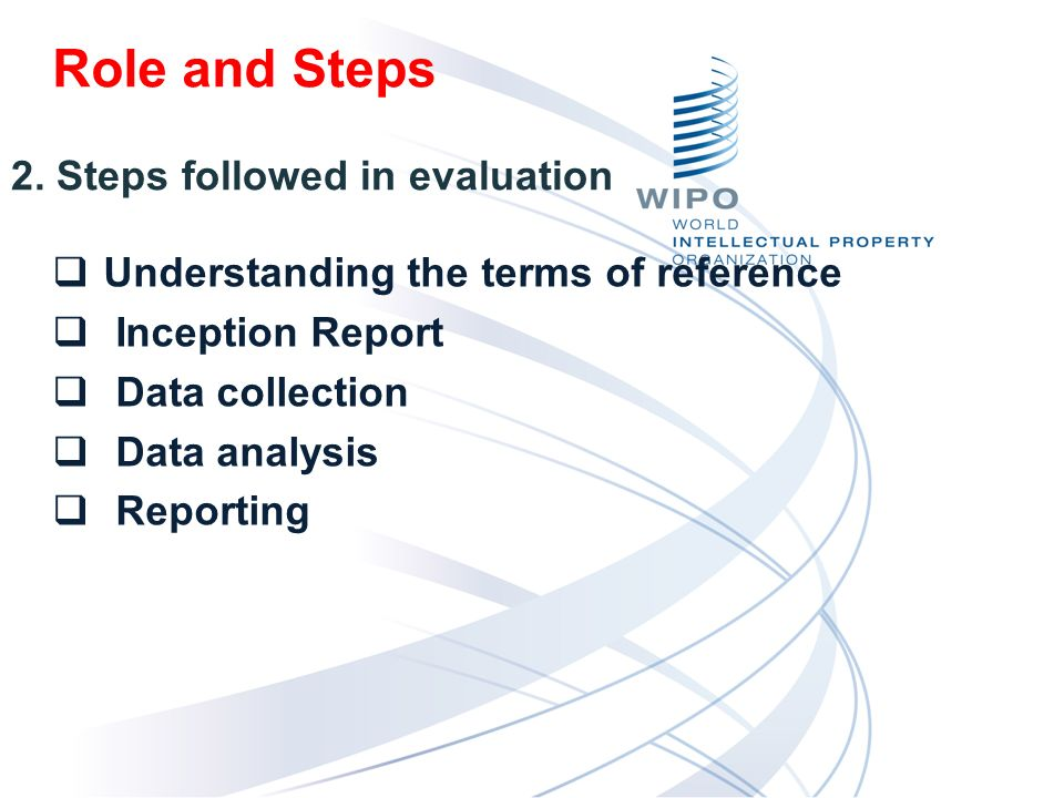 Understanding the terms of reference Inception Report Data collection Data analysis Reporting 2.