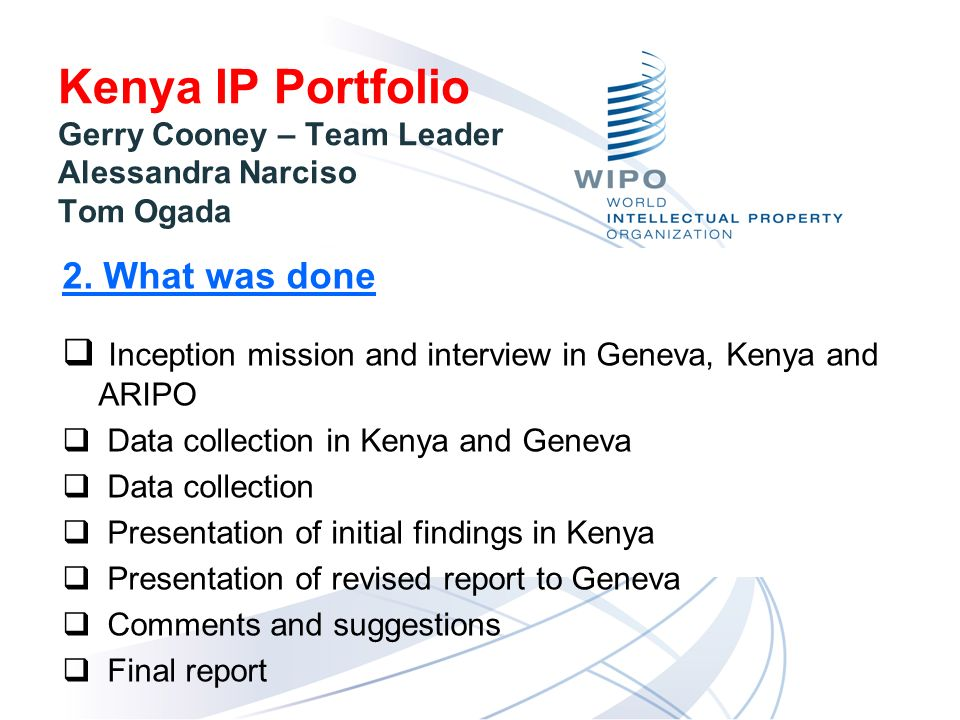 Kenya IP Portfolio Gerry Cooney – Team Leader Alessandra Narciso Tom Ogada 2.