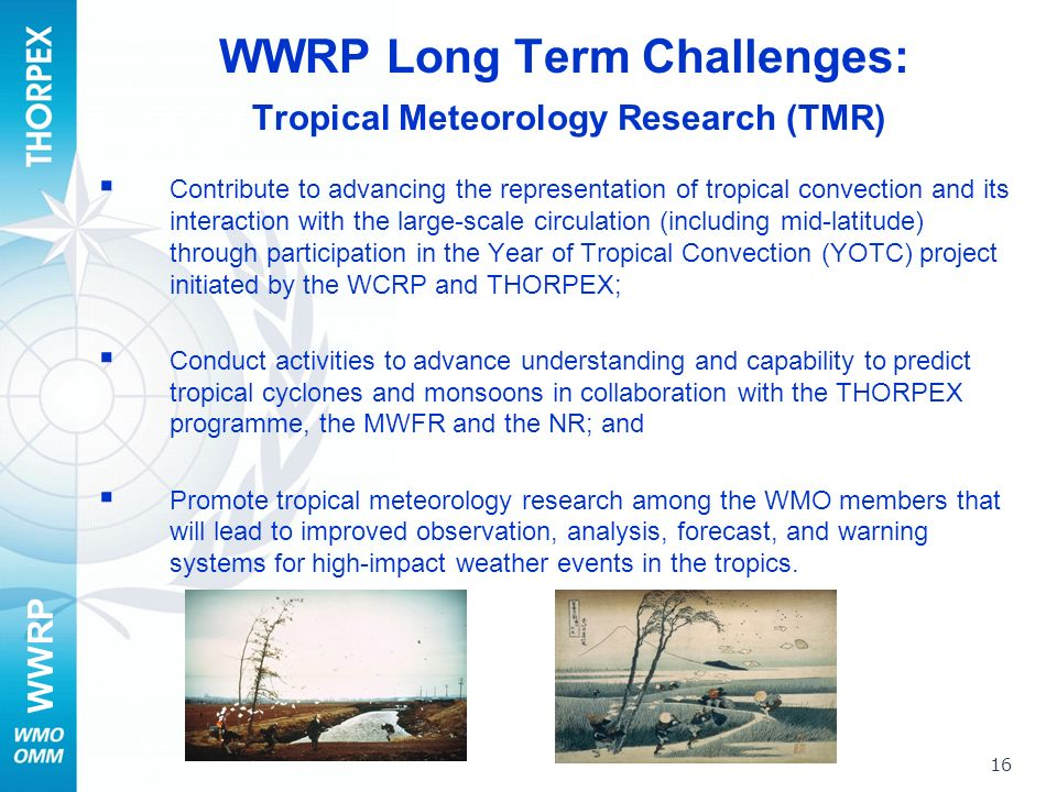 WWRP 16 WWRP Long Term Challenges: Tropical Meteorology Research (TMR) Contribute to advancing the representation of tropical convection and its interaction with the large-scale circulation (including mid-latitude) through participation in the Year of Tropical Convection (YOTC) project initiated by the WCRP and THORPEX; Conduct activities to advance understanding and capability to predict tropical cyclones and monsoons in collaboration with the THORPEX programme, the MWFR and the NR; and Promote tropical meteorology research among the WMO members that will lead to improved observation, analysis, forecast, and warning systems for high-impact weather events in the tropics.